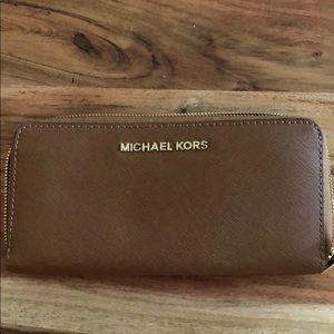 Tan Michael Kors Leather Wallet